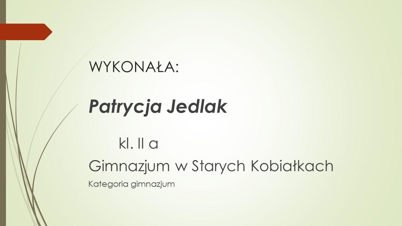 WYKONAŁA: Patrycja Jedlak kl. II a Gimnazjum w Starych Kobiałkach Kategoria gimnazjum