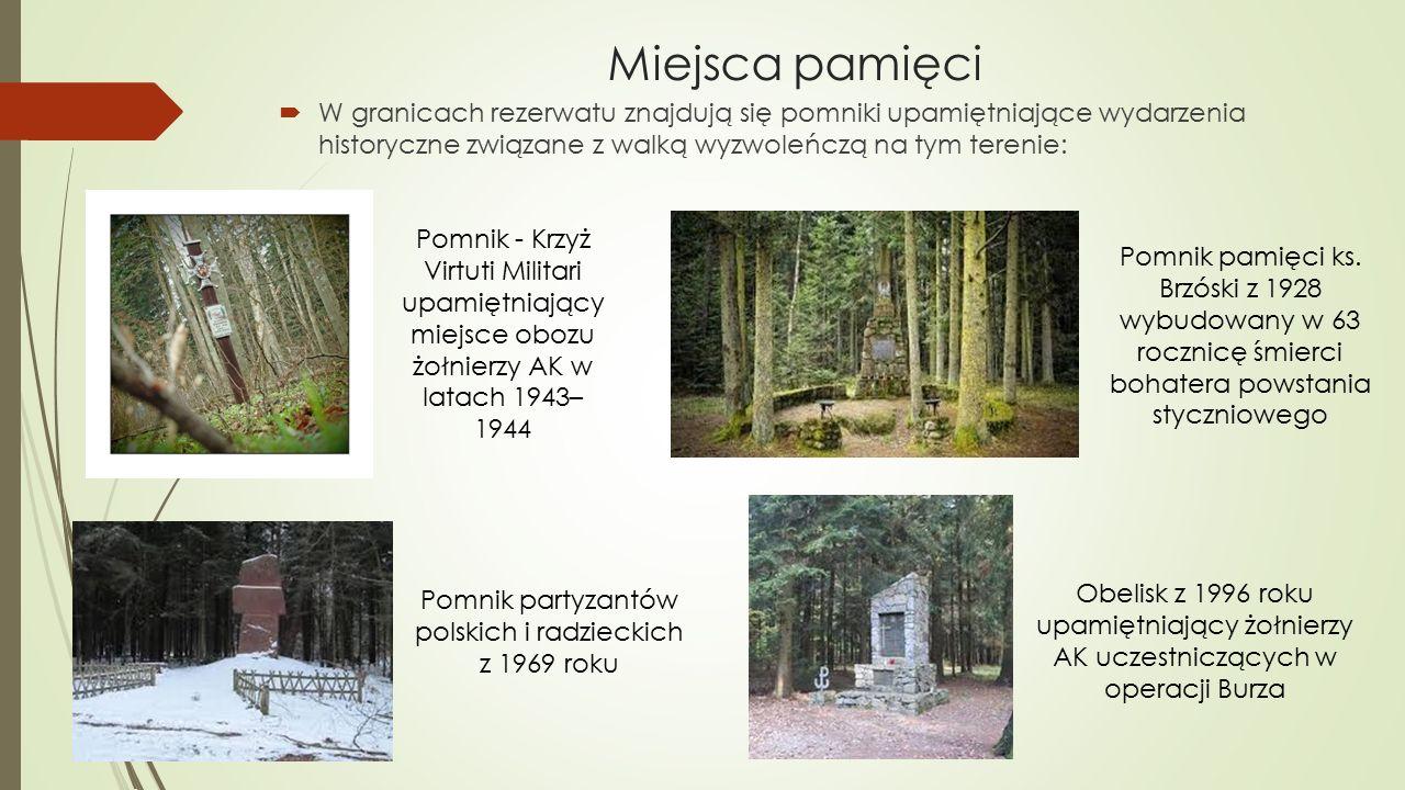 Miejsca pamięci  W granicach rezerwatu znajdują się pomniki upamiętniające wydarzenia historyczne związane z walką wyzwoleńczą na tym terenie: Pomnik