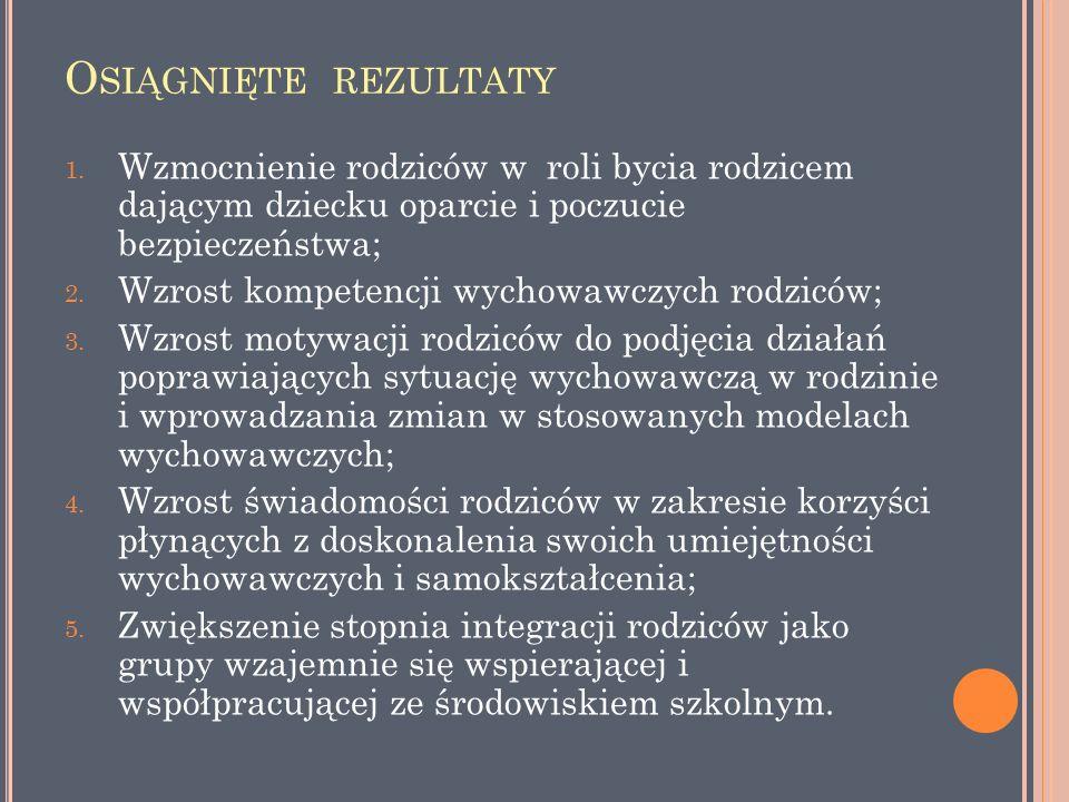 O SIĄGNIĘTE REZULTATY 1.