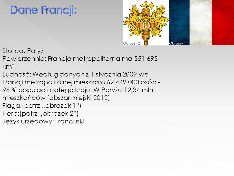 Obrazek 1Obrazek 2 Stolica: Paryż Powierzchnia: Francja metropolitarna ma 551 695 km².