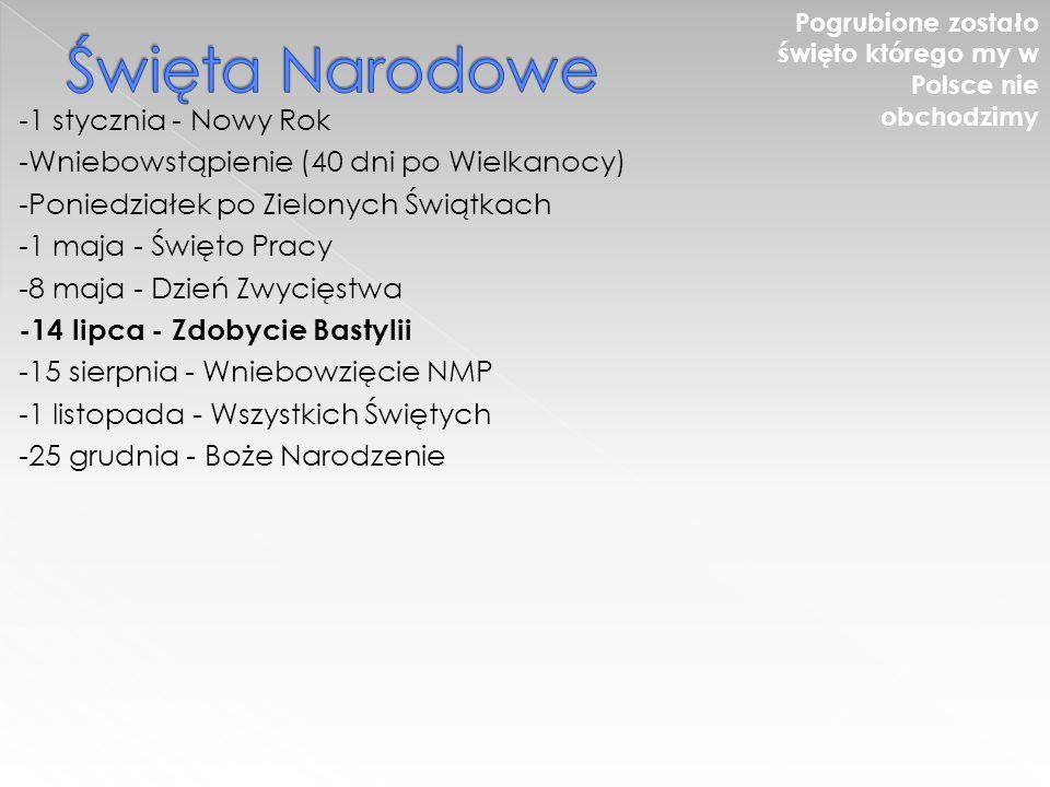 -1 stycznia - Nowy Rok -Wniebowstąpienie (40 dni po Wielkanocy) -Poniedziałek po Zielonych Świątkach -1 maja - Święto Pracy -8 maja - Dzień Zwycięstwa -14 lipca - Zdobycie Bastylii -15 sierpnia - Wniebowzięcie NMP -1 listopada - Wszystkich Świętych -25 grudnia - Boże Narodzenie Pogrubione zostało święto którego my w Polsce nie obchodzimy
