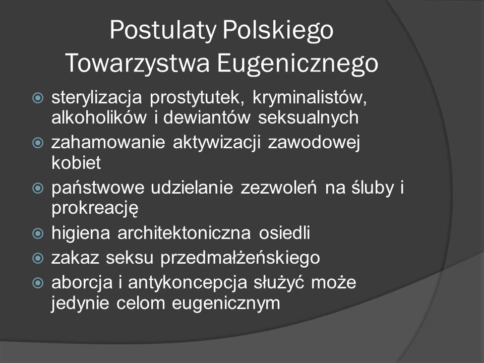 Postulaty Polskiego Towarzystwa Eugenicznego  sterylizacja prostytutek, kryminalistów, alkoholików i dewiantów seksualnych  zahamowanie aktywizacji zawodowej kobiet  państwowe udzielanie zezwoleń na śluby i prokreację  higiena architektoniczna osiedli  zakaz seksu przedmałżeńskiego  aborcja i antykoncepcja służyć może jedynie celom eugenicznym