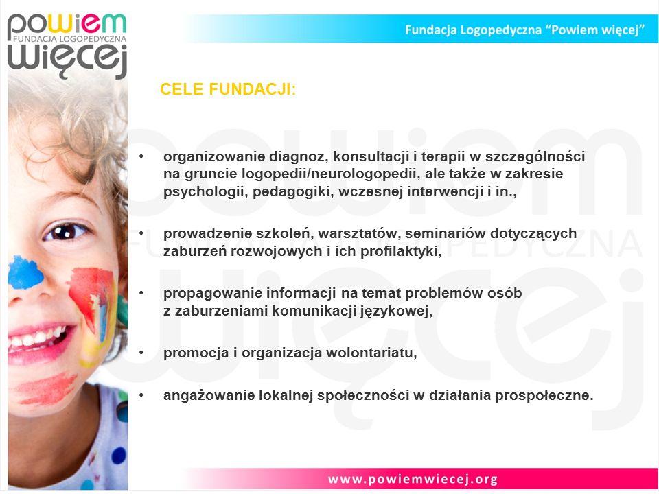 CELE FUNDACJI: organizowanie diagnoz, konsultacji i terapii w szczególności na gruncie logopedii/neurologopedii, ale także w zakresie psychologii, pedagogiki, wczesnej interwencji i in., prowadzenie szkoleń, warsztatów, seminariów dotyczących zaburzeń rozwojowych i ich profilaktyki, propagowanie informacji na temat problemów osób z zaburzeniami komunikacji językowej, promocja i organizacja wolontariatu, angażowanie lokalnej społeczności w działania prospołeczne.