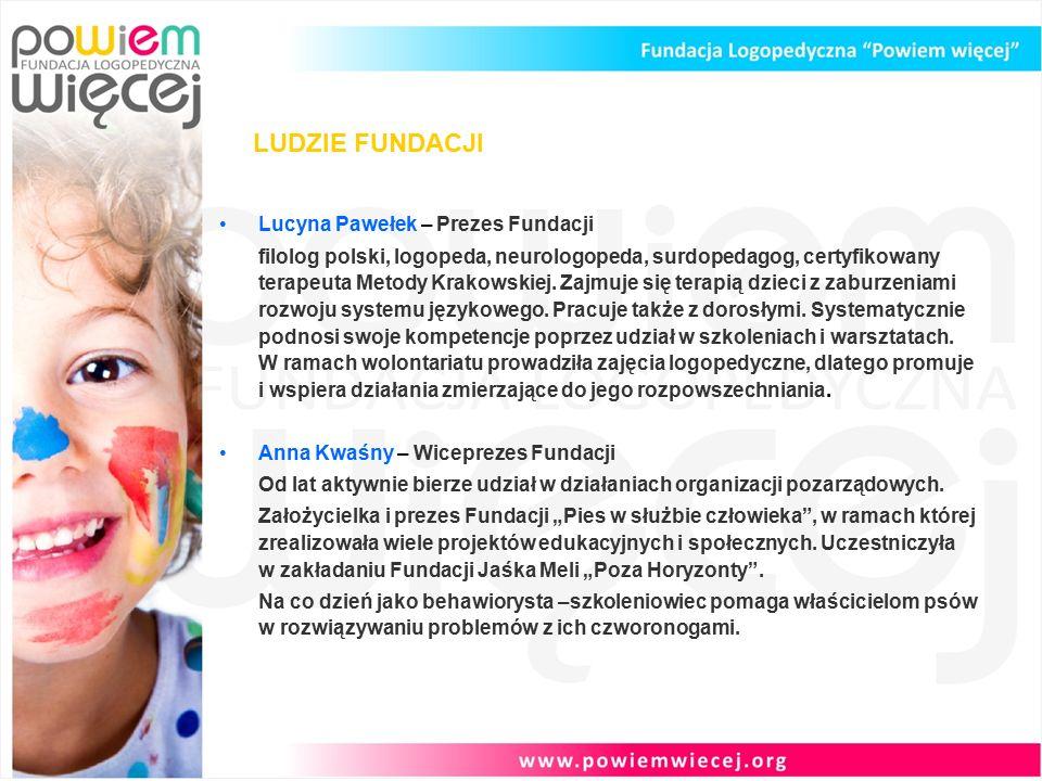LUDZIE FUNDACJI Lucyna Pawełek – Prezes Fundacji filolog polski, logopeda, neurologopeda, surdopedagog, certyfikowany terapeuta Metody Krakowskiej.