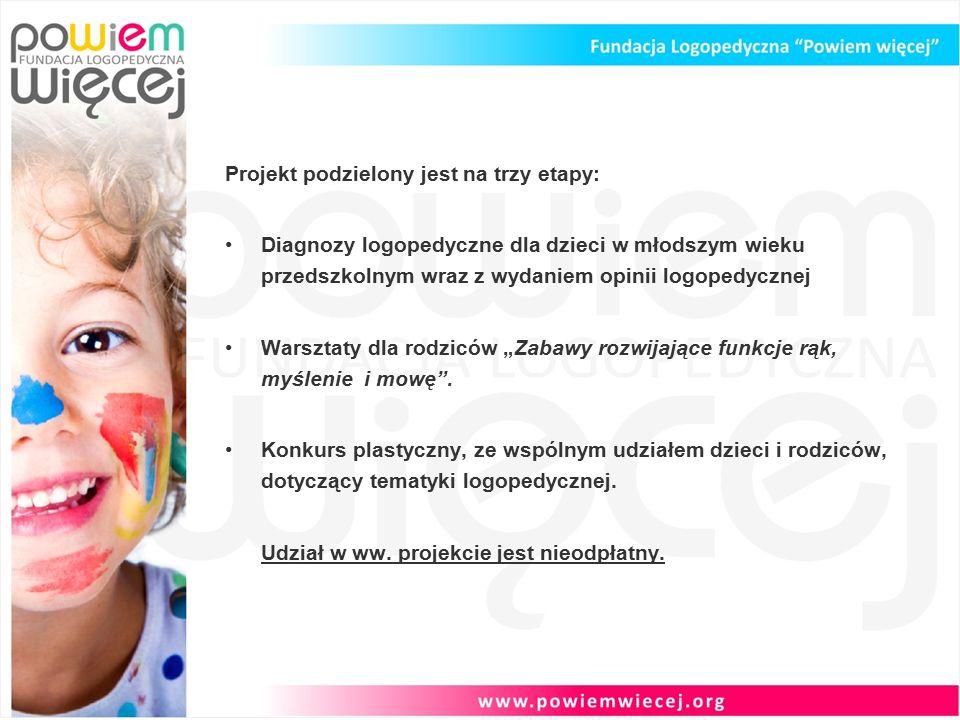 """Projekt podzielony jest na trzy etapy: Diagnozy logopedyczne dla dzieci w młodszym wieku przedszkolnym wraz z wydaniem opinii logopedycznej Warsztaty dla rodziców """"Zabawy rozwijające funkcje rąk, myślenie i mowę ."""