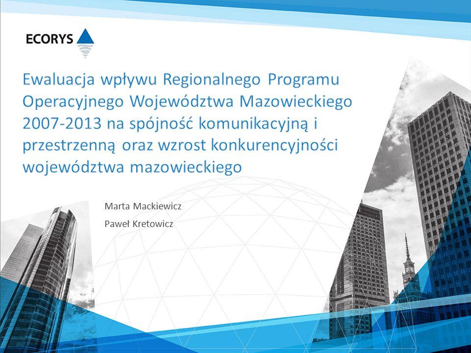  inwestycje RPO WM 2007-2013 koncentrowały się w miastach regionalnych i wokół nich, niewielkim stopniu wpływając na dostępność komunikacyjną w skali województwa  nastąpiła duża poprawa dostępności w bliższej odległości miast regionalnych co można uznać za wspieranie rozwoju lokalnego i prawidłowe wydatkowanie środków unijnych na rzecz poprawy dostępności w takiej skali  projekty budowy lub modernizacji dróg powiatowych rzadziej nawiązują do układu transportowego całego województwa i wpływają na spójność komunikacyjną, jeżeli stanowią łączniki lub uzupełnienie sieci dróg krajowych i wojewódzkich  im większy i bardziej kompleksowy projekt, tym większy efekt dla ludności lokalnej - pod tym względem doszło do wyrównania różnic w jakości infrastruktury między OMW a pozostałą częścią województwa  nie można mówić o wyrównaniu różnic w rozwoju transportu w układzie miasto-wieś - zdecydowana większość projektów realizowana była na terenie OMW lub w obszarach funkcjonalnych Płocka, Radomia, Siedlec, Ostrołęki i Ciechanowa, zauważa się także utrzymanie nierównomierności rozwoju transportu w układzie wschód-zachód województwa  do poprawy spójności sieci drogowej przyczyniły się większe inwestycje na drogach wojewódzkich i powiatowych - poprawa dróg lokalnych wpływała na zmianę jakościową i wizerunkową  na podstawie dostępnych danych z KGP nie da się jednoznacznie stwierdzić zależności pomiędzy budową i modernizacją dróg, a bezpieczeństwem drogowym