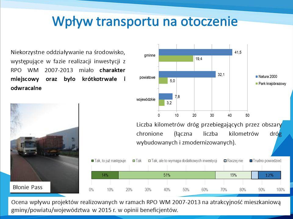 Liczba kilometrów dróg przebiegających przez obszary chronione (łączna liczba kilometrów dróg wybudowanych i zmodernizowanych).