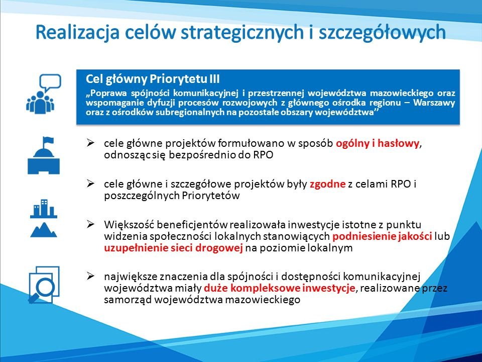"""Cel główny Priorytetu III """"Poprawa spójności komunikacyjnej i przestrzennej województwa mazowieckiego oraz wspomaganie dyfuzji procesów rozwojowych z głównego ośrodka regionu – Warszawy oraz z ośrodków subregionalnych na pozostałe obszary województwa''  cele główne projektów formułowano w sposób ogólny i hasłowy, odnosząc się bezpośrednio do RPO  cele główne i szczegółowe projektów były zgodne z celami RPO i poszczególnych Priorytetów  Większość beneficjentów realizowała inwestycje istotne z punktu widzenia społeczności lokalnych stanowiących podniesienie jakości lub uzupełnienie sieci drogowej na poziomie lokalnym  największe znaczenia dla spójności i dostępności komunikacyjnej województwa miały duże kompleksowe inwestycje, realizowane przez samorząd województwa mazowieckiego"""