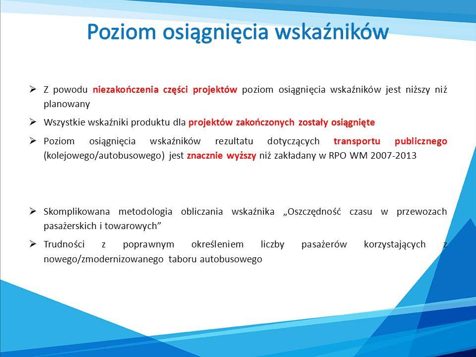  w skali całego województwa mazowieckiego zmiany w dostępności przestrzennej w latach 2007-2014 wynikające z inwestycji RPO WM 2007-2013 są niewielkie  wyraźna poprawa dostępności jest widoczna w skali lokalnej  najistotniejszą inwestycją jest budowa południowej obwodnicy Radomia (10,3 km) oraz budowa nowego przebiegu drogi wojewódzkiej nr 627 (Ostrołęka-Małkinia-Kosów Lacki -Sokołów Podlaski – 15 km, na odcinku Treblinka-Kosów Lacki).
