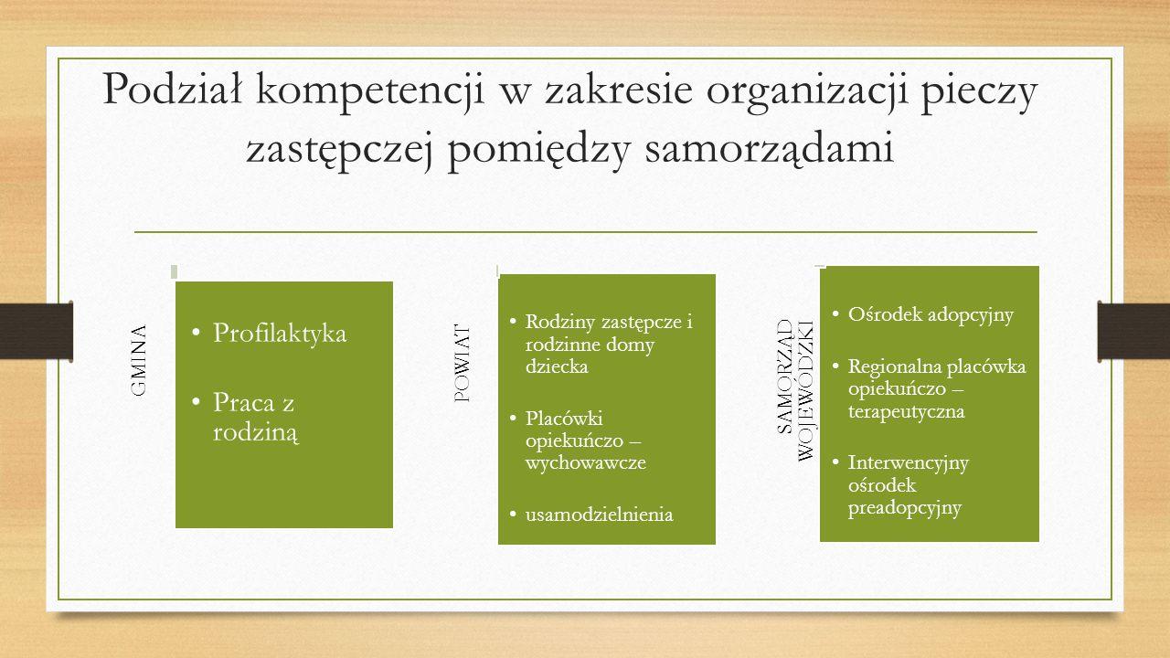 Podział kompetencji w zakresie organizacji pieczy zastępczej pomiędzy samorządami GMINA Profilaktyka Praca z rodziną POWIAT Rodziny zastępcze i rodzinne domy dziecka Placówki opiekuńczo – wychowawcze usamodzielnienia SAMORZĄD WOJEWÓDZKI Ośrodek adopcyjny Regionalna placówka opiekuńczo – terapeutyczna Interwencyjny ośrodek preadopcyjny