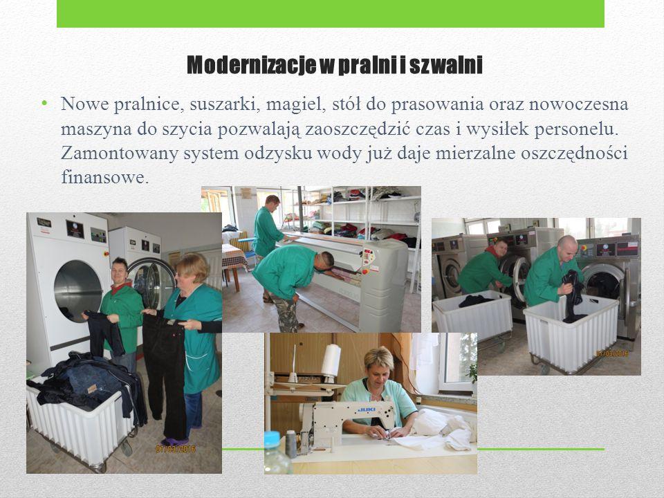 Modernizacje w pralni i szwalni Nowe pralnice, suszarki, magiel, stół do prasowania oraz nowoczesna maszyna do szycia pozwalają zaoszczędzić czas i wysiłek personelu.