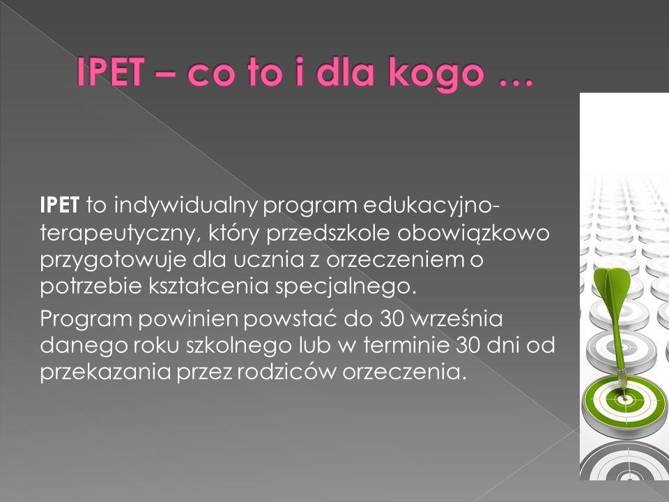 IPET to indywidualny program edukacyjno- terapeutyczny, który przedszkole obowiązkowo przygotowuje dla ucznia z orzeczeniem o potrzebie kształcenia sp