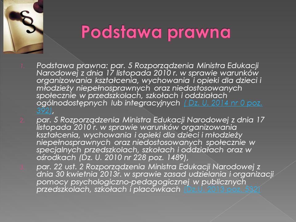 1. Podstawa prawna: par. 5 Rozporządzenia Ministra Edukacji Narodowej z dnia 17 listopada 2010 r. w sprawie warunków organizowania kształcenia, wychow
