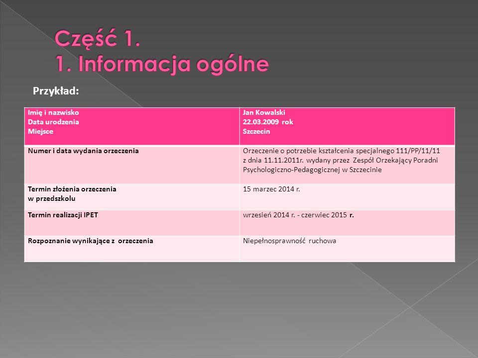 Imię i nazwisko Data urodzenia Miejsce Jan Kowalski 22.03.2009 rok Szczecin Numer i data wydania orzeczeniaOrzeczenie o potrzebie kształcenia specjaln