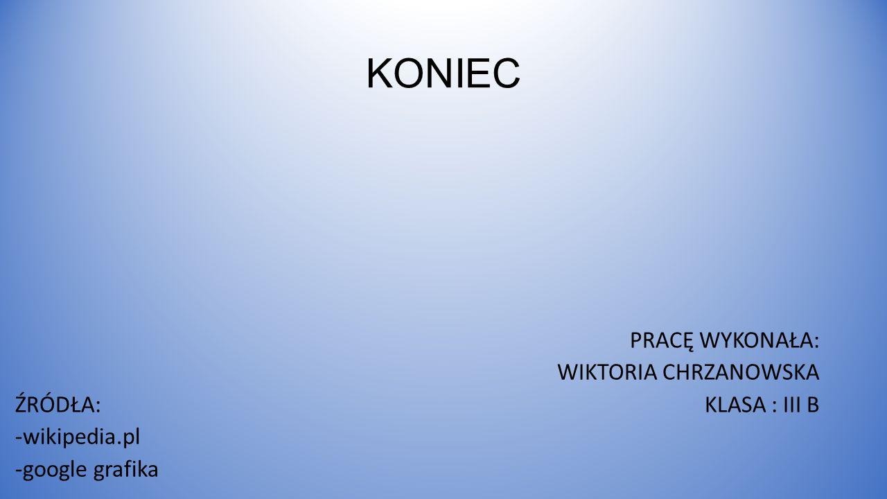 KONIEC ŹRÓDŁA: -wikipedia.pl -google grafika PRACĘ WYKONAŁA: WIKTORIA CHRZANOWSKA KLASA : III B