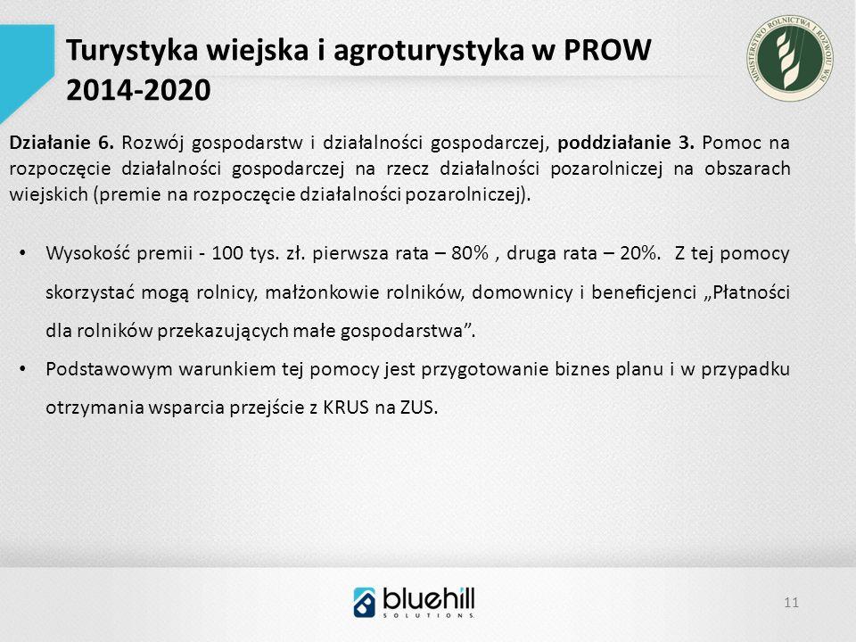 11 Turystyka wiejska i agroturystyka w PROW 2014-2020 Działanie 6.
