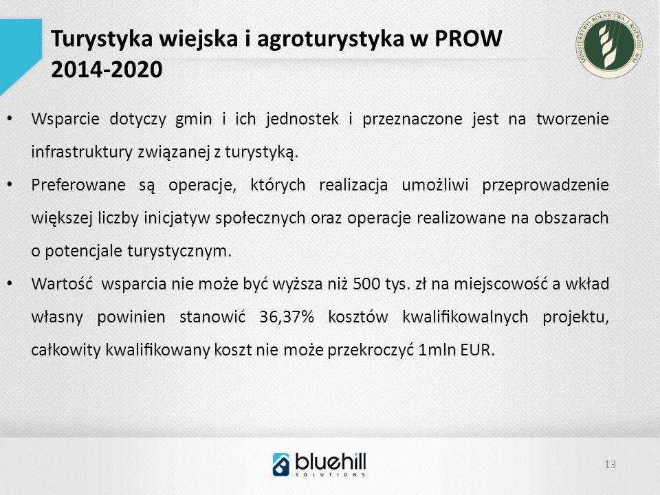13 Turystyka wiejska i agroturystyka w PROW 2014-2020 Wsparcie dotyczy gmin i ich jednostek i przeznaczone jest na tworzenie infrastruktury związanej z turystyką.