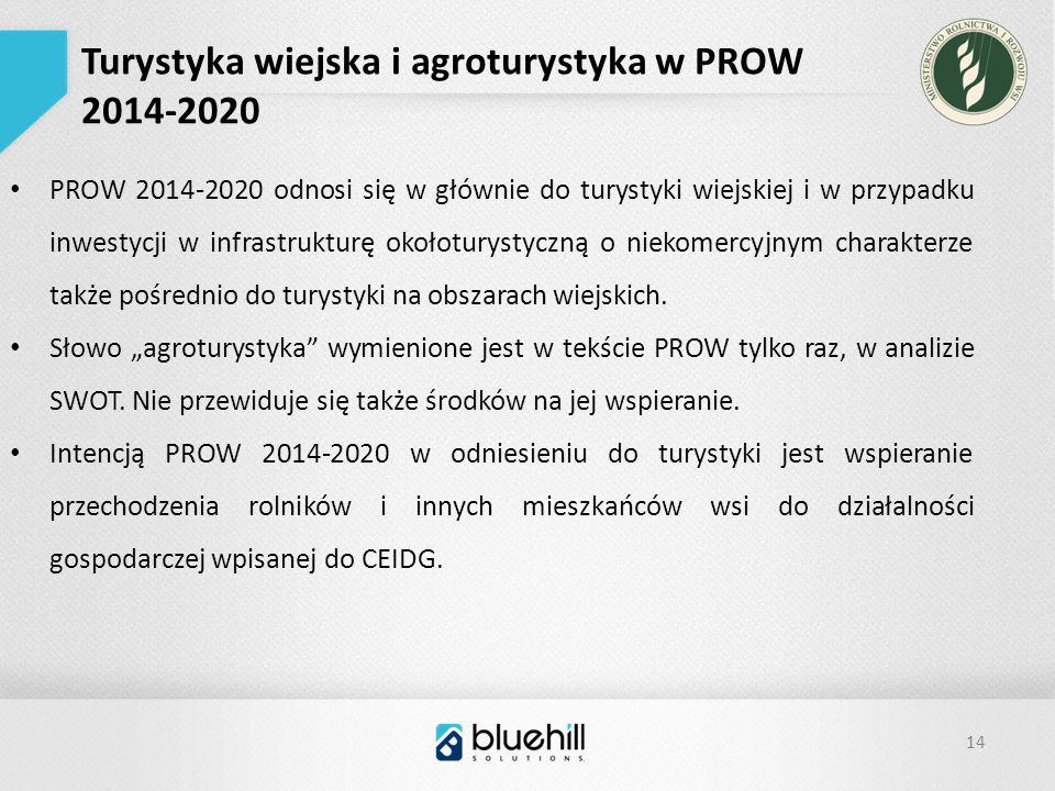 14 Turystyka wiejska i agroturystyka w PROW 2014-2020 PROW 2014-2020 odnosi się w głównie do turystyki wiejskiej i w przypadku inwestycji w infrastrukturę okołoturystyczną o niekomercyjnym charakterze także pośrednio do turystyki na obszarach wiejskich.