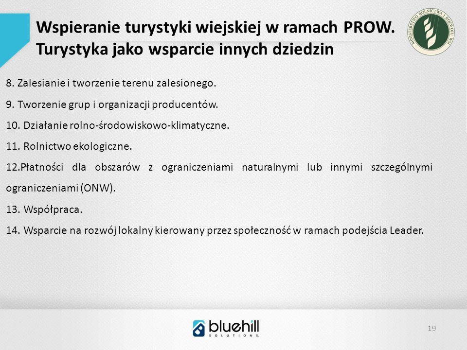 19 Wspieranie turystyki wiejskiej w ramach PROW. Turystyka jako wsparcie innych dziedzin 8.