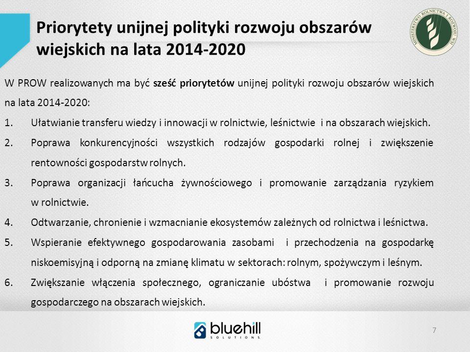 7 Priorytety unijnej polityki rozwoju obszarów wiejskich na lata 2014-2020 W PROW realizowanych ma być sześć priorytetów unijnej polityki rozwoju obszarów wiejskich na lata 2014-2020: 1.Ułatwianie transferu wiedzy i innowacji w rolnictwie, leśnictwie i na obszarach wiejskich.