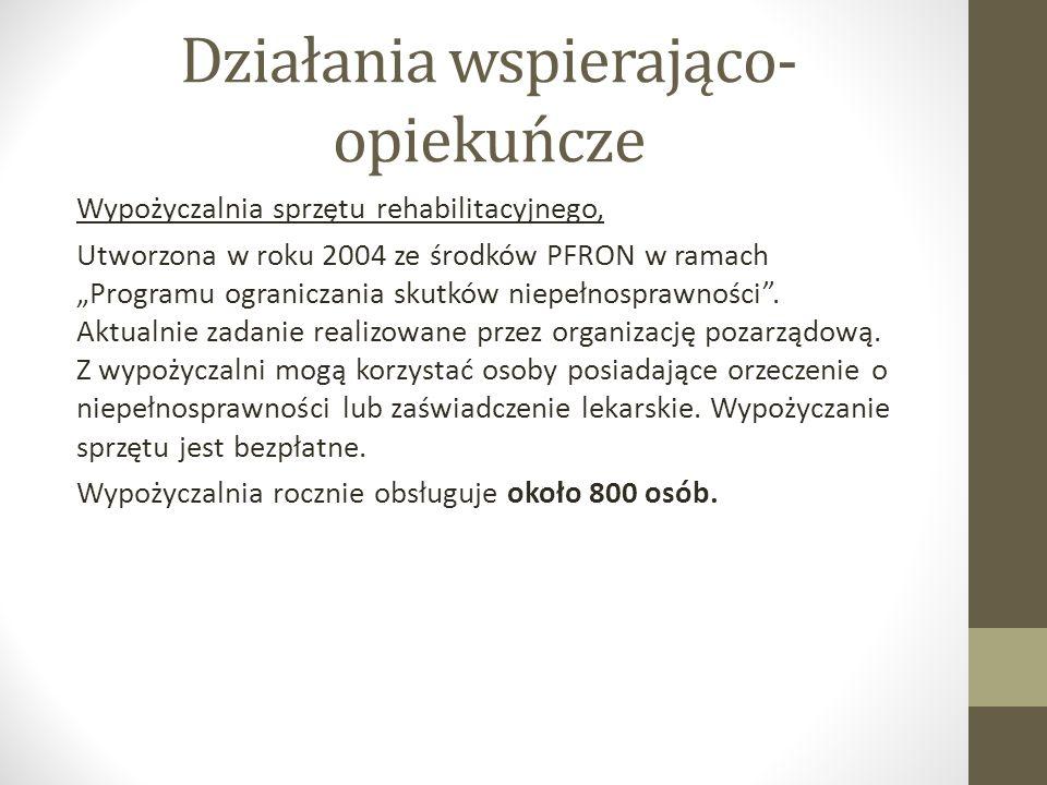 """Działania wspierająco- opiekuńcze Wypożyczalnia sprzętu rehabilitacyjnego, Utworzona w roku 2004 ze środków PFRON w ramach """"Programu ograniczania skutków niepełnosprawności ."""