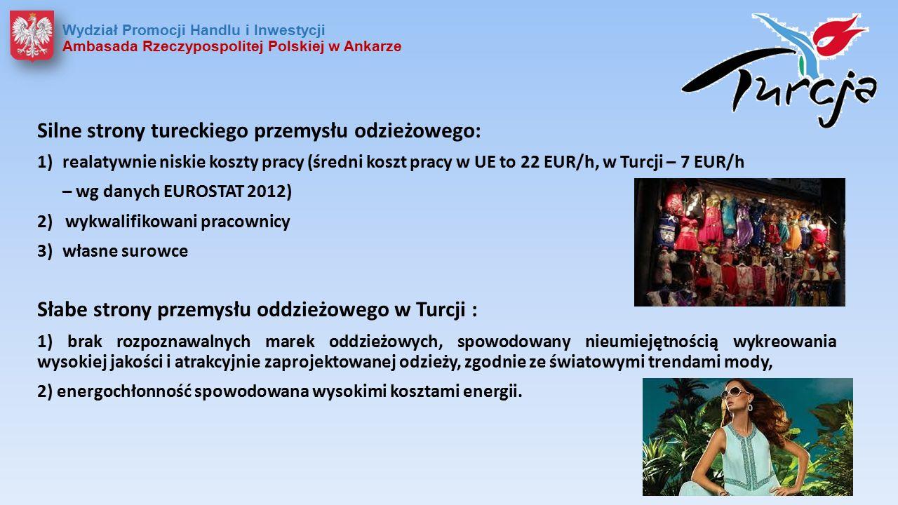 Silne strony tureckiego przemysłu odzieżowego: 1)realatywnie niskie koszty pracy (średni koszt pracy w UE to 22 EUR/h, w Turcji – 7 EUR/h – wg danych EUROSTAT 2012) 2) wykwalifikowani pracownicy 3)własne surowce Słabe strony przemysłu oddzieżowego w Turcji : 1) brak rozpoznawalnych marek oddzieżowych, spowodowany nieumiejętnością wykreowania wysokiej jakości i atrakcyjnie zaprojektowanej odzieży, zgodnie ze światowymi trendami mody, 2) energochłonność spowodowana wysokimi kosztami energii.