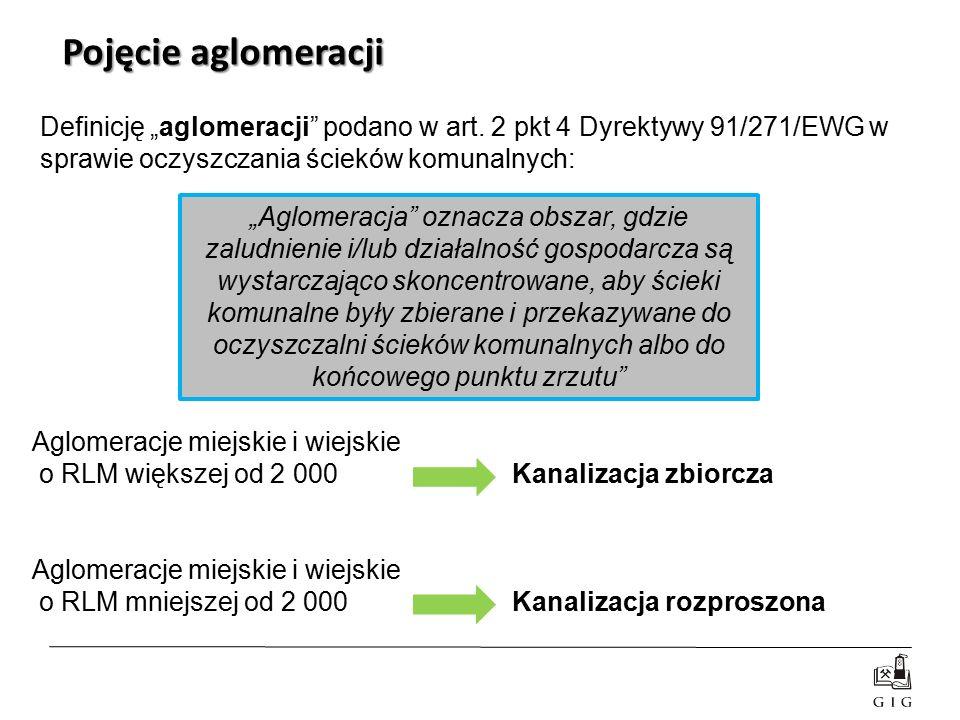 """Definicję """"aglomeracji"""" podano w art. 2 pkt 4 Dyrektywy 91/271/EWG w sprawie oczyszczania ścieków komunalnych: Pojęcie aglomeracji Aglomeracje miejski"""