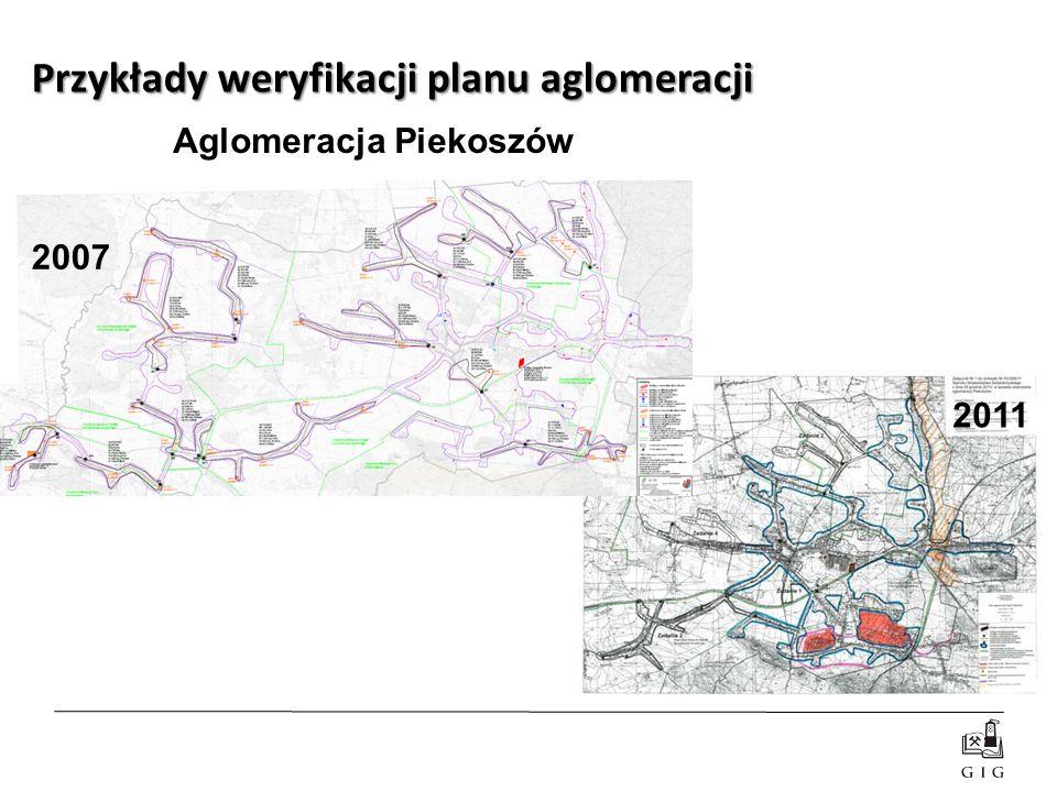 Aglomeracja Piekoszów Przykłady weryfikacji planu aglomeracji 2007 2011