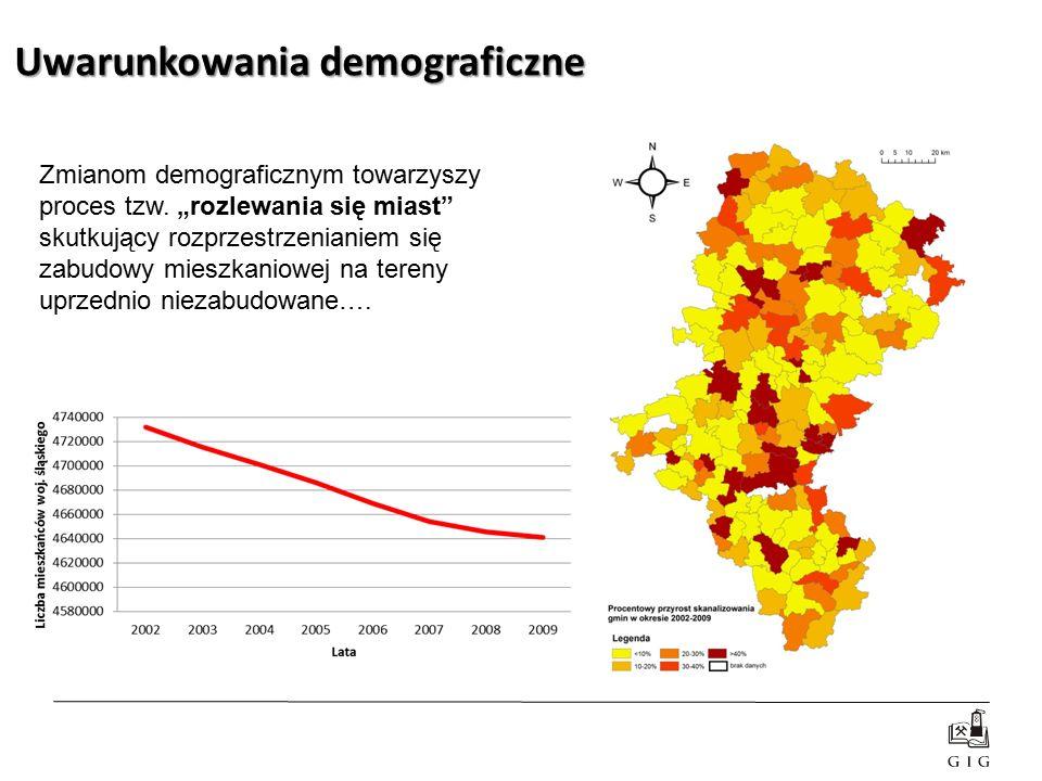 """Uwarunkowania demograficzne Zmianom demograficznym towarzyszy proces tzw. """"rozlewania się miast"""" skutkujący rozprzestrzenianiem się zabudowy mieszkani"""