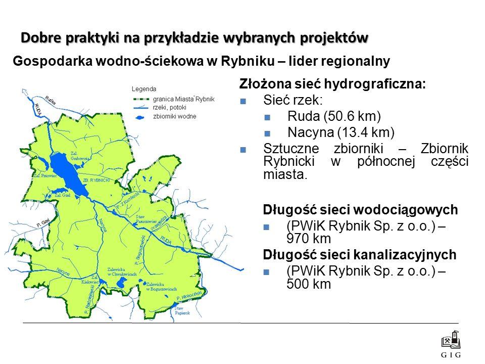 Dobre praktyki na przykładzie wybranych projektów Złożona sieć hydrograficzna: Sieć rzek: Ruda (50.6 km) Nacyna (13.4 km) Sztuczne zbiorniki – Zbiorni