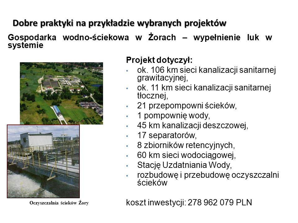 Dobre praktyki na przykładzie wybranych projektów Oczyszczalnia ścieków Żory Gospodarka wodno-ściekowa w Żorach – wypełnienie luk w systemie Projekt d