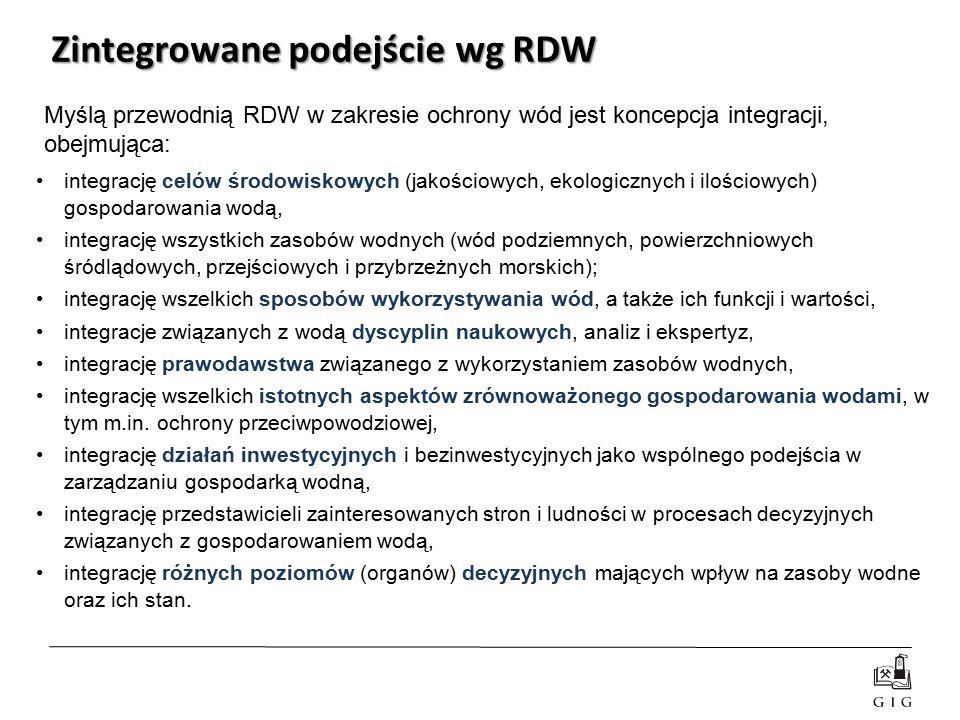 Zintegrowane podejście wg RDW integrację celów środowiskowych (jakościowych, ekologicznych i ilościowych) gospodarowania wodą, integrację wszystkich z
