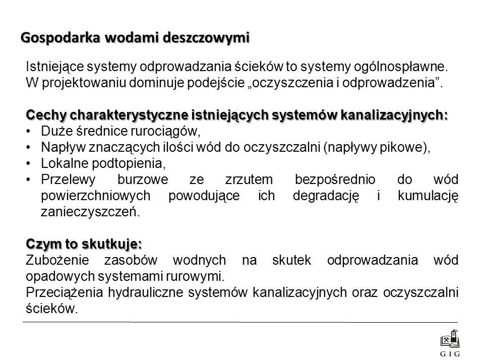 """Istniejące systemy odprowadzania ścieków to systemy ogólnospławne. W projektowaniu dominuje podejście """"oczyszczenia i odprowadzenia"""". Cechy charaktery"""