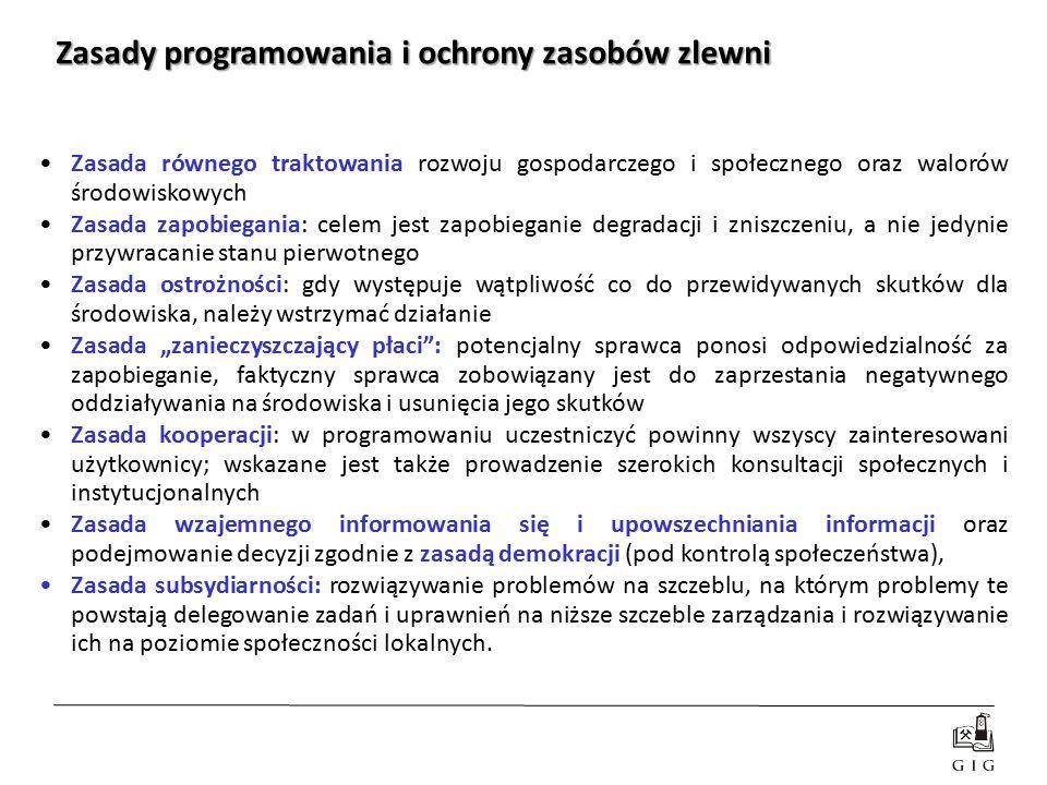 Zasady programowania i ochrony zasobów zlewni Zasada równego traktowania rozwoju gospodarczego i społecznego oraz walorów środowiskowych Zasada zapobi