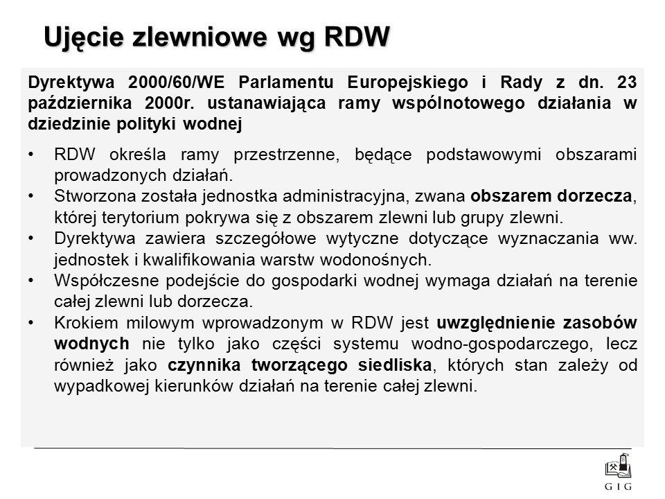 Ujęcie zlewniowe wg RDW Dyrektywa 2000/60/WE Parlamentu Europejskiego i Rady z dn. 23 października 2000r. ustanawiająca ramy wspólnotowego działania w
