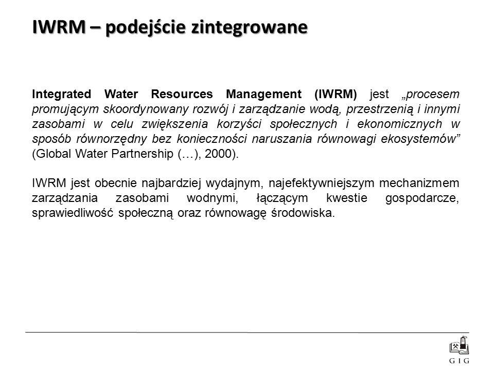 """Integrated Water Resources Management (IWRM) jest """"procesem promującym skoordynowany rozwój i zarządzanie wodą, przestrzenią i innymi zasobami w celu"""