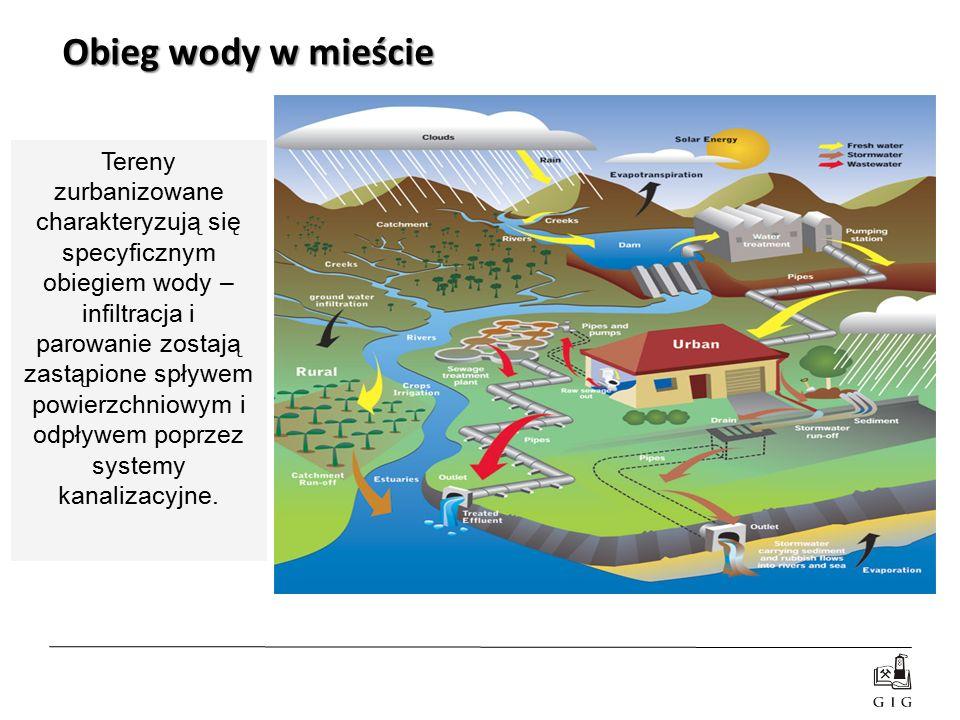 Obieg wody w mieście Tereny zurbanizowane charakteryzują się specyficznym obiegiem wody – infiltracja i parowanie zostają zastąpione spływem powierzch