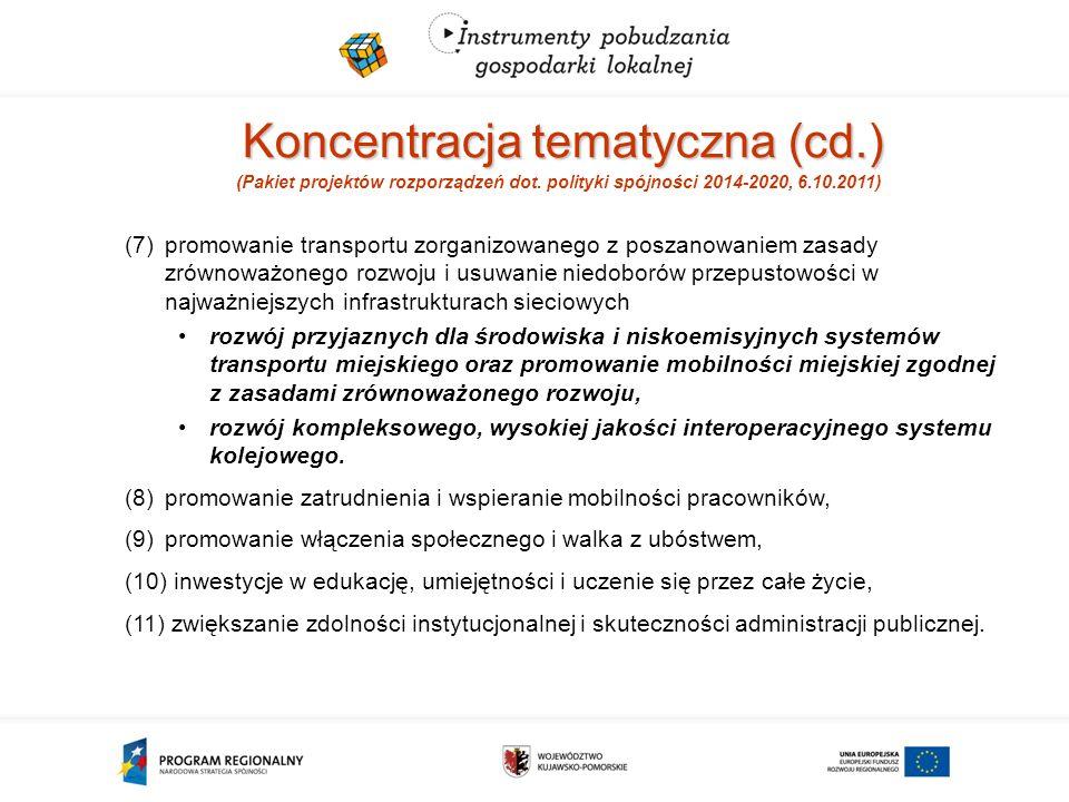 Koncentracja tematyczna (cd.) (Pakiet projektów rozporządzeń dot.