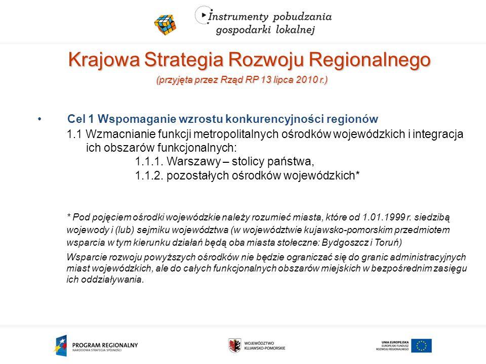 Krajowa Strategia Rozwoju Regionalnego (przyjęta przez Rząd RP 13 lipca 2010 r.) Cel 1 Wspomaganie wzrostu konkurencyjności regionów 1.1 Wzmacnianie funkcji metropolitalnych ośrodków wojewódzkich i integracja ich obszarów funkcjonalnych: 1.1.1.