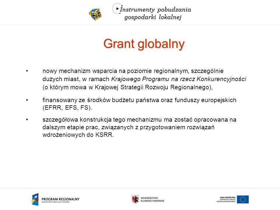 Grant globalny nowy mechanizm wsparcia na poziomie regionalnym, szczególnie dużych miast, w ramach Krajowego Programu na rzecz Konkurencyjności (o którym mowa w Krajowej Strategii Rozwoju Regionalnego), finansowany ze środków budżetu państwa oraz funduszy europejskich (EFRR, EFS, FS).