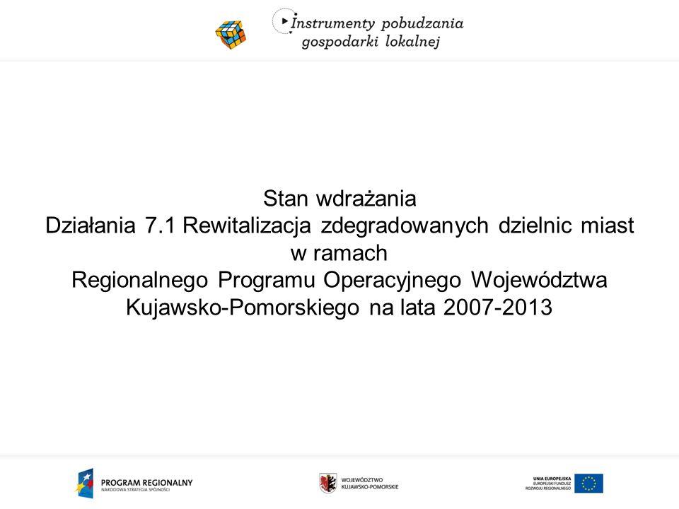 Stan wdrażania Działania 7.1 Rewitalizacja zdegradowanych dzielnic miast w ramach Regionalnego Programu Operacyjnego Województwa Kujawsko-Pomorskiego na lata 2007-2013
