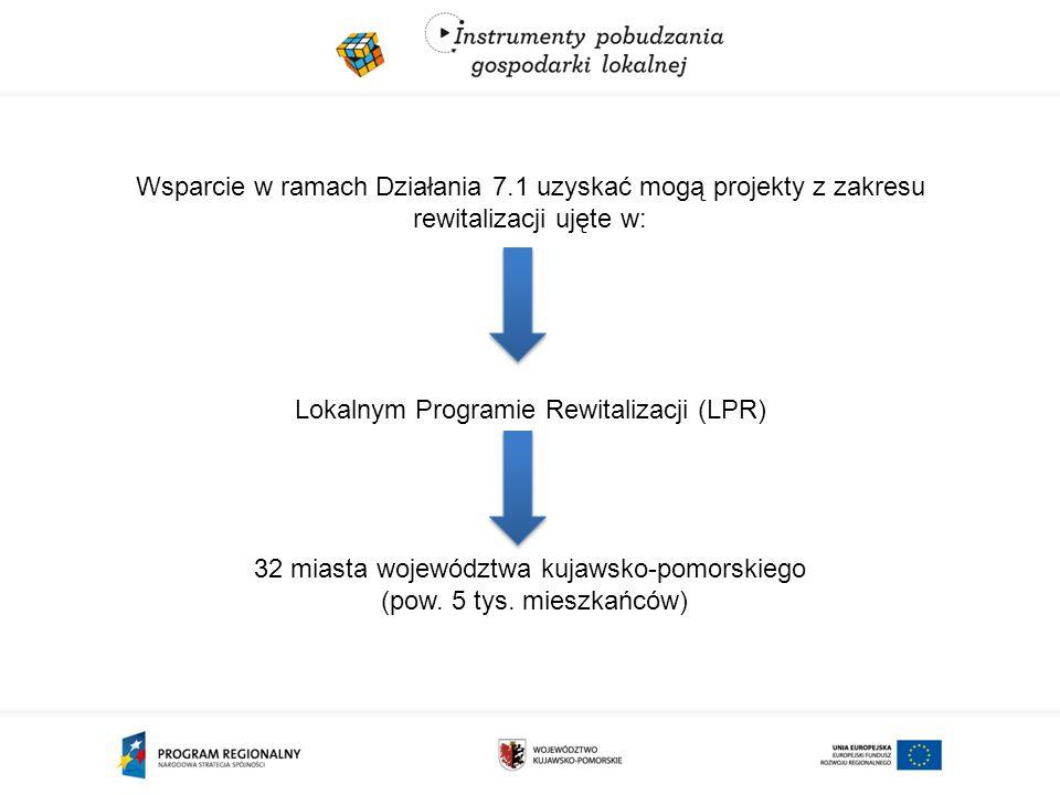 Wsparcie w ramach Działania 7.1 uzyskać mogą projekty z zakresu rewitalizacji ujęte w: Lokalnym Programie Rewitalizacji (LPR) 32 miasta województwa kujawsko-pomorskiego (pow.