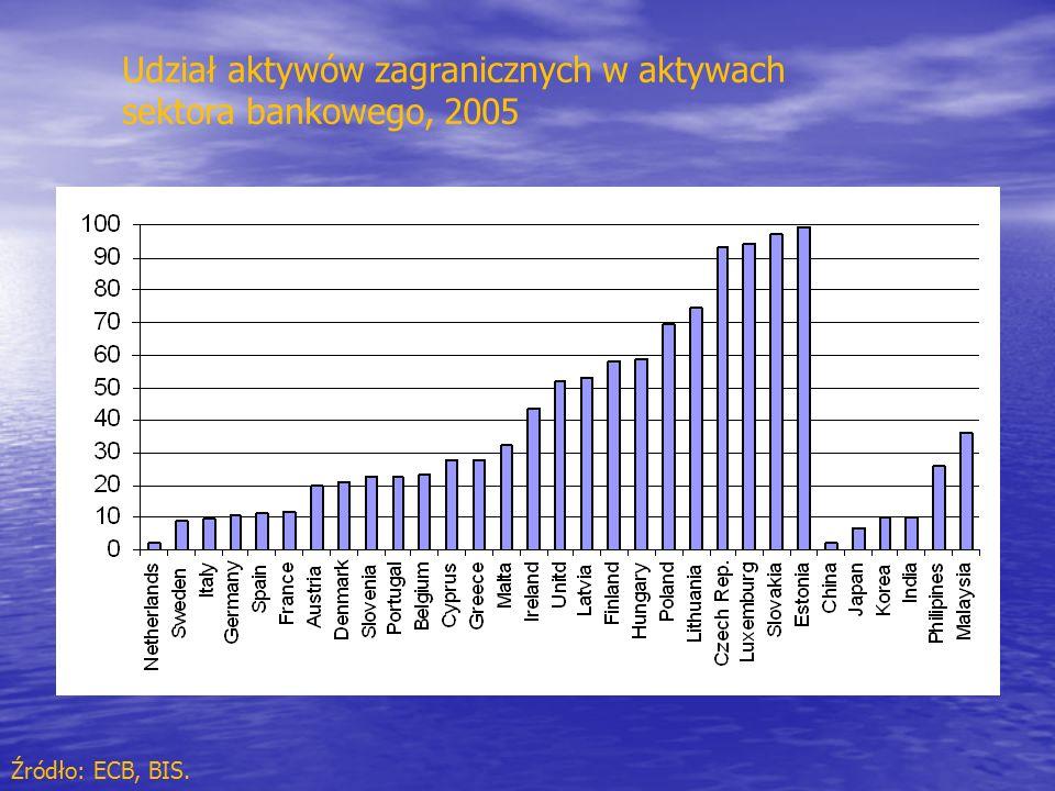 Udział aktywów zagranicznych w aktywach sektora bankowego, 2005 Źródło: ECB, BIS.
