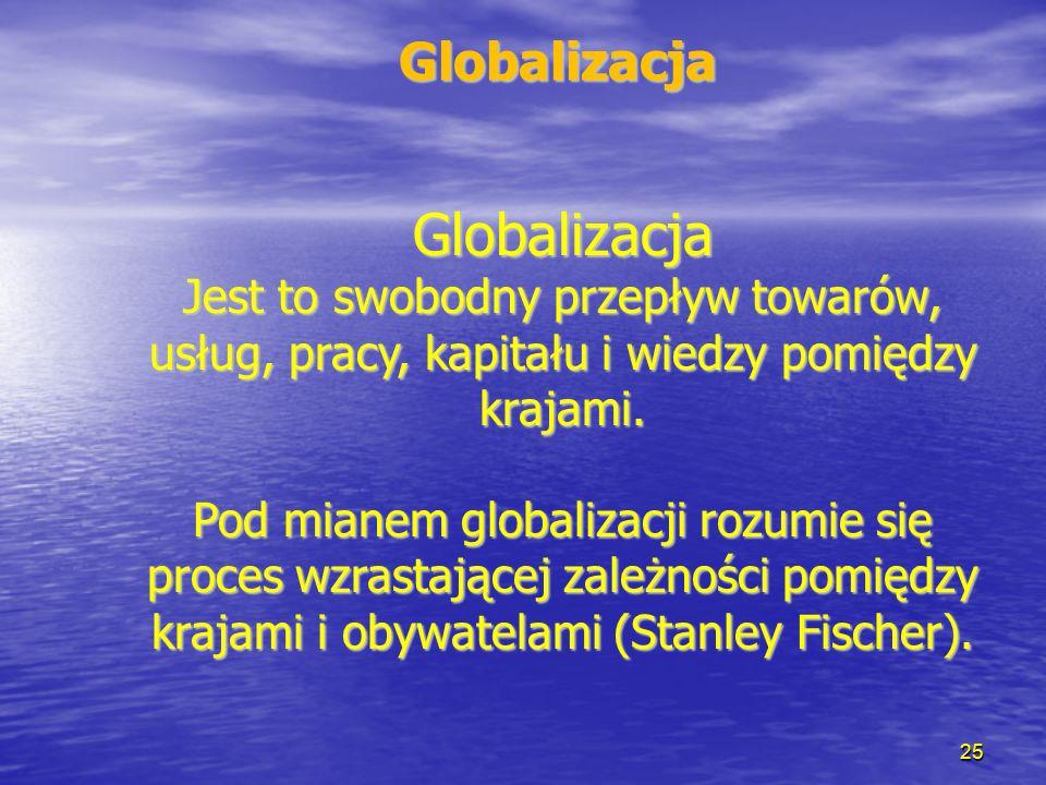 25 Globalizacja Jest to swobodny przepływ towarów, usług, pracy, kapitału i wiedzy pomiędzy krajami. Pod mianem globalizacji rozumie się proces wzrast