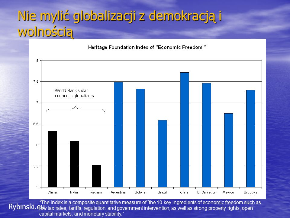 Rybinski.eu *The index is a composite quantitative measure of the 10 key ingredients of economic freedom such as low tax rates, tariffs, regulation, and government intervention, as well as strong property rights, open capital markets, and monetary stability. Nie mylić globalizacji z demokracją i wolnością