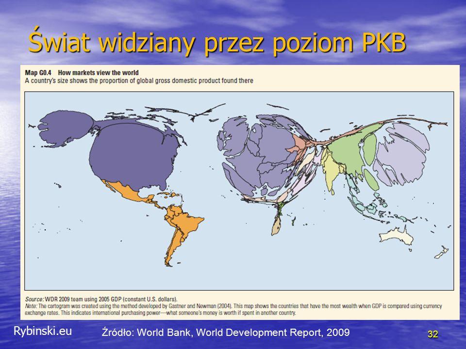 Rybinski.eu 32 Świat widziany przez poziom PKB Źródło: World Bank, World Development Report, 2009