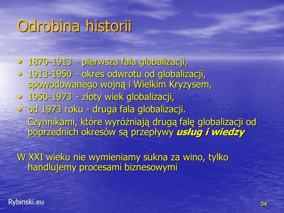 Rybinski.eu 34 Odrobina historii 1870-1913 - pierwsza fala globalizacji, 1870-1913 - pierwsza fala globalizacji, 1913-1950 - okres odwrotu od globaliz