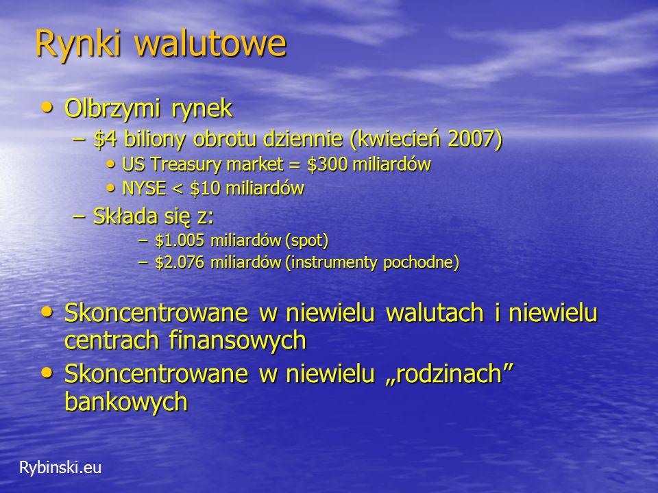 Rybinski.eu Rynki walutowe Olbrzymi rynek Olbrzymi rynek –$4 biliony obrotu dziennie (kwiecień 2007) US Treasury market = $300 miliardów US Treasury m