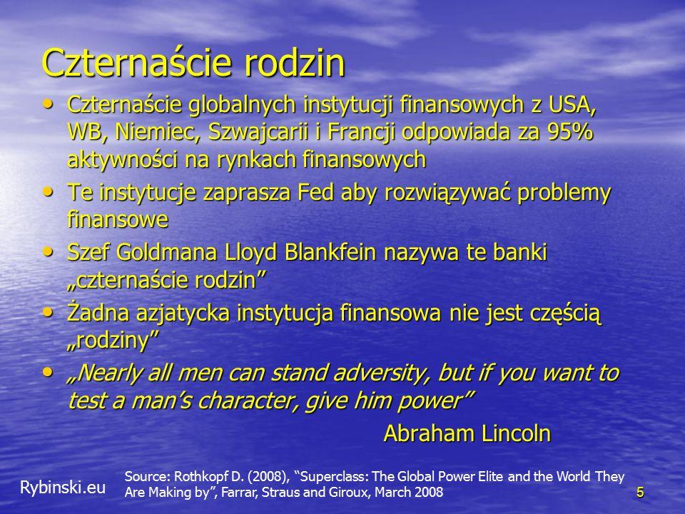 """Rybinski.eu Nacjonalizacja banków oznacza, że wiarygodność rządów została """"rozciągnięta na banki 76 Credit Default Swaps – Polska i banki komercyjne (w punktach bazowych) 2 bn + 1 bn = 3bn Reinhart, Rogoff – 86% Hiszpania, Grecja, Irlandia Co z dolarem?"""