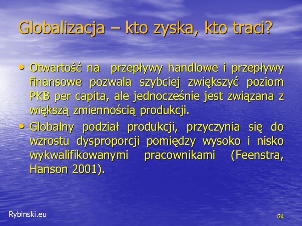 Rybinski.eu 54 Globalizacja – kto zyska, kto traci? Otwartość na przepływy handlowe i przepływy finansowe pozwala szybciej zwiększyć poziom PKB per ca